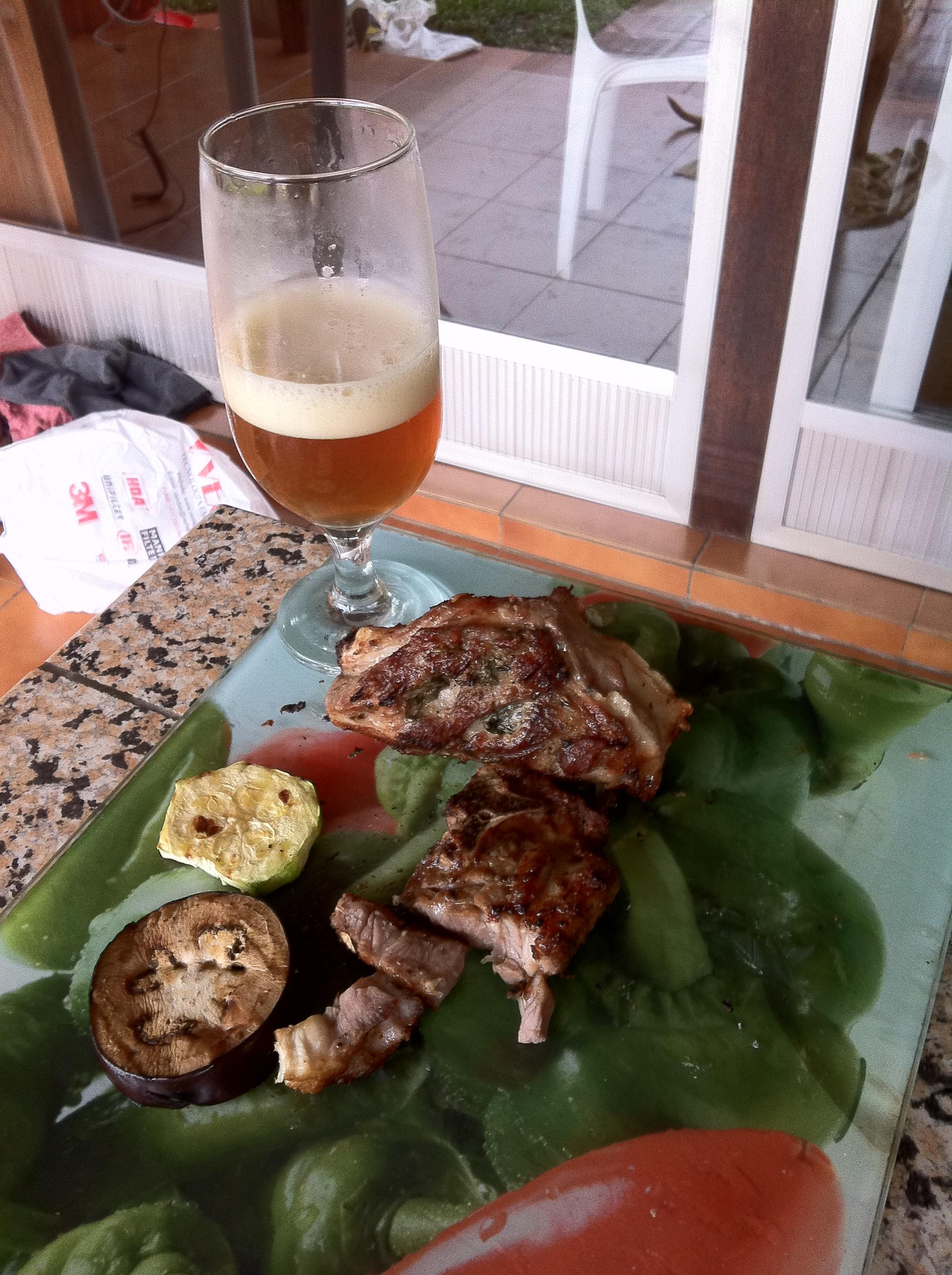 Grand Cru com carneiro e legumes grelhados