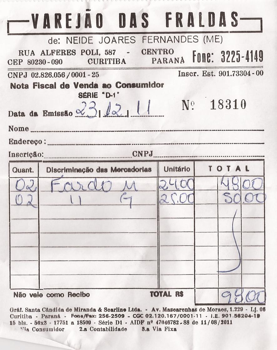 Nota Fiscal 4 - SBCA 2011